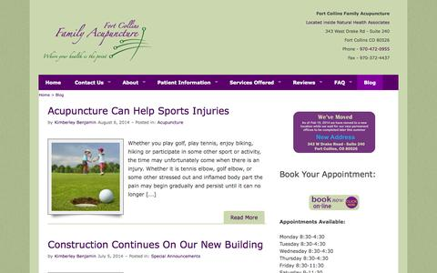 Screenshot of Blog ftcollinsfamilyacupuncture.com - Fort Collins Family Acupuncture-Where Your Health Is The Point - captured Oct. 6, 2014