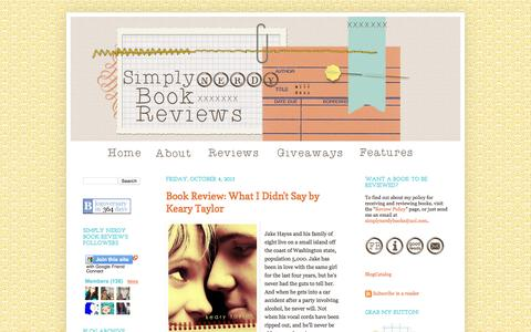 Screenshot of Home Page simplynerdy.com - Simply Nerdy Book Reviews - captured Sept. 29, 2015