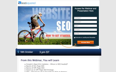 Screenshot of Landing Page leadsquared.com - Webinar Content- How to Get Started with Website SEO? - captured Aug. 30, 2016