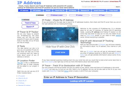 Screenshot of Home Page ip-address.org - IP Address Locator: IP Tracker, Search IP, Find IP, Trace IP Lookup, What Is My IP Location - captured Oct. 29, 2017