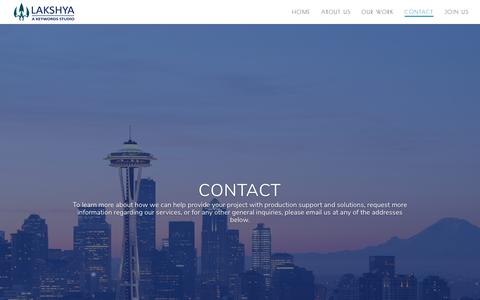 Screenshot of Contact Page lakshyadigital.com - Contact | Lakshya Digital - captured Nov. 4, 2018