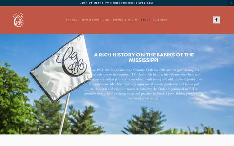 Screenshot of About Page cggolfclub.com - About — Cape Girardeau Country Club - captured June 29, 2018