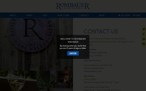 Screenshot of Contact Page rombauer.com - Contact Us - Rombauer Vineyards - captured Nov. 22, 2015