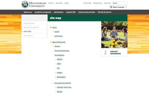 Screenshot of Site Map Page multnomah.edu - Site Map | Multnomah University - captured Oct. 9, 2014