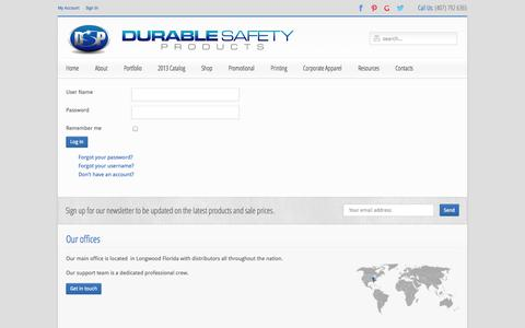 Screenshot of Login Page durablesafetyproducts.com - Durable Safety Products - captured Sept. 30, 2014