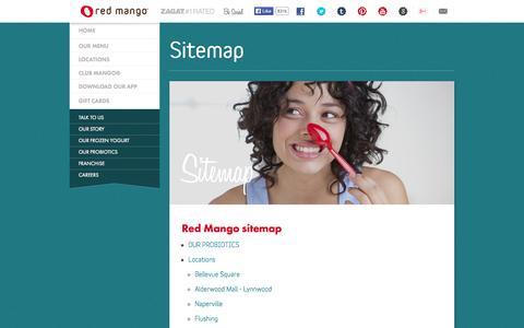 Screenshot of Site Map Page redmangousa.com - Sitemap | Red Mango Frozen Yogurt & Smoothies - captured Sept. 22, 2014