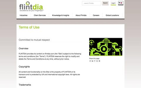Screenshot of Terms Page flintdia.com - Terms of Use | Flintdia Management Consulting - captured Oct. 6, 2014