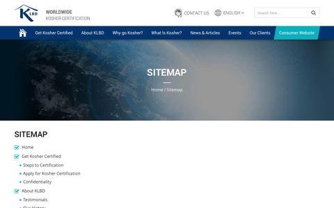 Screenshot of Site Map Page klbdkosher.org - Sitemap - KLBD Kosher Certification - captured Nov. 27, 2016