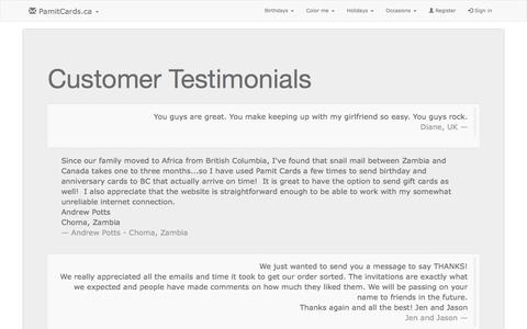 Screenshot of Testimonials Page pamitcards.ca - Personalized greeting cards, printed and mailed in Canada for you by Pamit Cards. - captured May 8, 2016