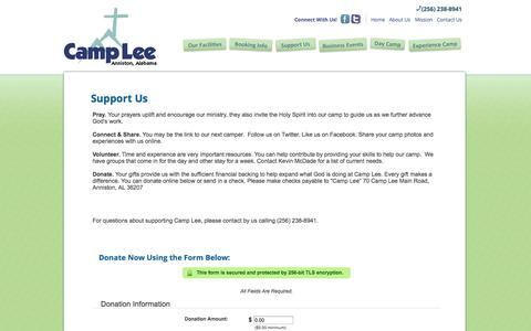 Screenshot of Support Page camplee.org - Support Us | Camp Lee - captured Oct. 1, 2014