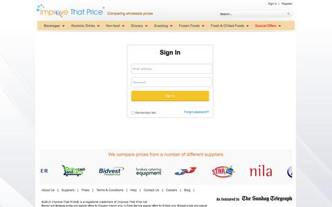 Screenshot of Login Page improvethatprice.com - Improve That Price | Compare wholesale prices of food, drink, catering equipment and cleaning & hygiene products - captured Dec. 22, 2015