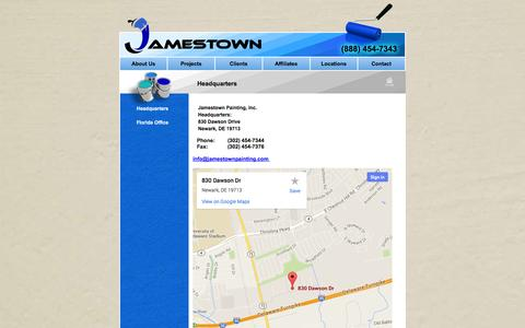 Screenshot of Locations Page jamestownpainting.com - Headquarters Directions and Contact Information: Jamestown Painting - captured Oct. 4, 2014