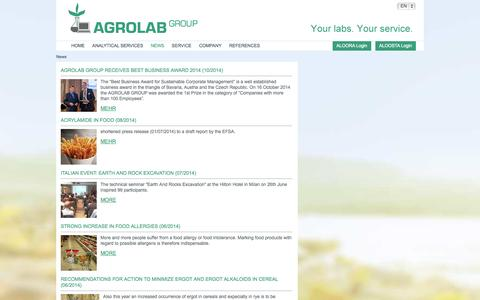 Screenshot of Press Page agrolab.com - Aktuelles - AGROLAB GROUP - captured Oct. 27, 2014