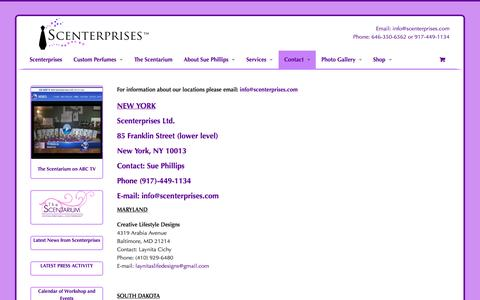 Screenshot of Locations Page scenterprises.com - Locations |Create Your Own Perfume - captured Sept. 30, 2014
