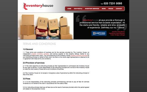 Screenshot of Terms Page inventoryhouse.co.uk - Terms and Conditions | Inventory House - captured Sept. 30, 2014