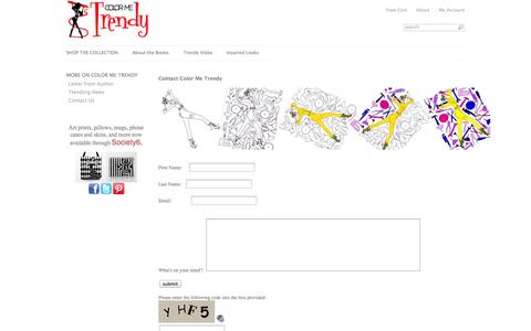 Screenshot of Contact Page colormetrendy.com - The Fashion Coloring Book - captured Sept. 30, 2014