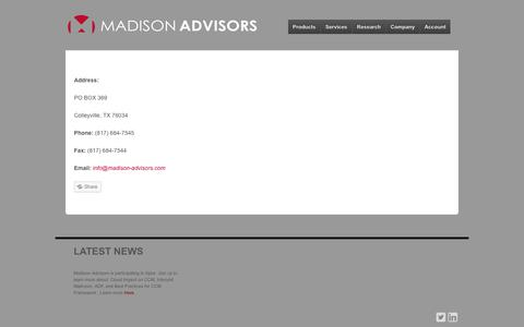 Screenshot of Contact Page madison-advisors.com - Contact Us - Madison Advisors - captured Sept. 30, 2014