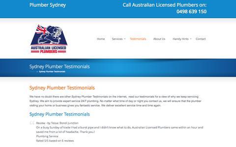 Screenshot of Testimonials Page mrplumbersydney.com.au - Sydney Plumber Testimonials | 24/7 Service | Call 0498 639 150 Mr Plumber Sydney - captured Sept. 19, 2014