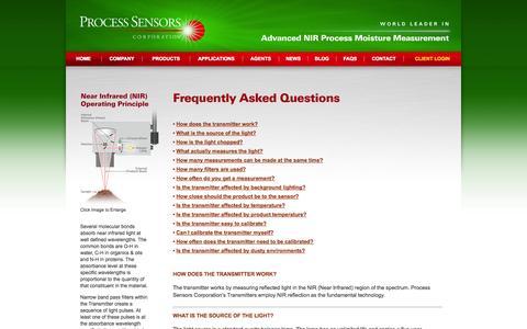 Screenshot of FAQ Page processsensors.com - Untitled Document - captured Oct. 3, 2014