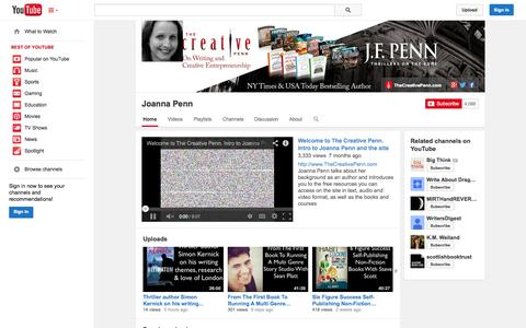Screenshot of YouTube Page youtube.com - Joanna Penn  - YouTube - captured Oct. 26, 2014