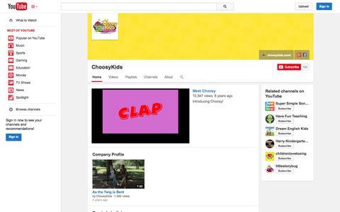 Screenshot of YouTube Page youtube.com - ChoosyKids  - YouTube - captured Oct. 27, 2014