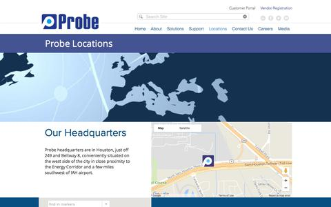Screenshot of Locations Page probe1.com - Locations | Probe - captured Sept. 11, 2017