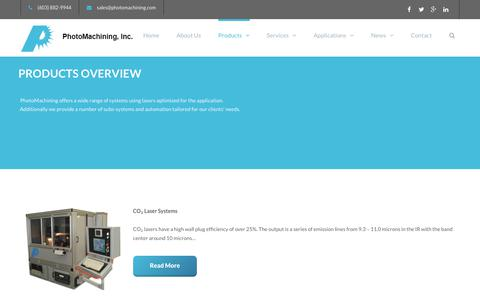 Screenshot of Products Page photomachining.com - Laser Micromachining Products | PhotoMaching, Inc. - captured Sept. 28, 2018