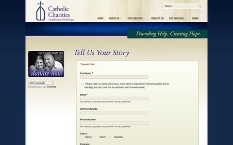 Screenshot of Testimonials Page catholiccharitiesdubuque.org - Testimonials « Catholic Charities of Dubuque - captured Oct. 2, 2014