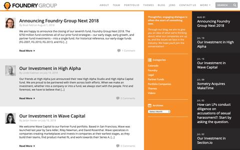 Screenshot of Blog foundrygroup.com - Blog | Foundry Group | Foundry Group - captured Oct. 8, 2018