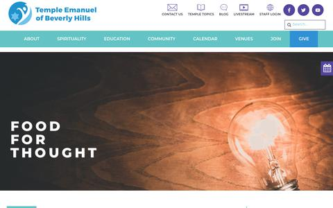 Screenshot of Blog tebh.org - Food For Thought - Temple Emanuel Beverly Hills - captured Oct. 18, 2018