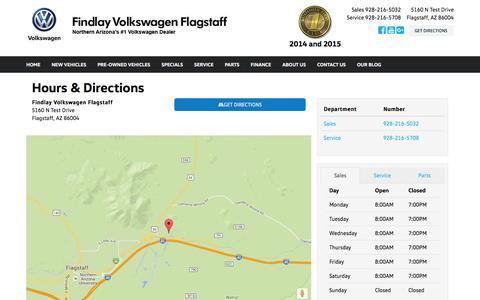 Screenshot of Hours Page findlayvolkswagenflagstaff.com - Findlay Volkswagen Flagstaff Hours & Directions - Flagstaff AZ area Volkswagen dealer serving Flagstaff AZ - New and Used Volkswagen dealership serving Prescott Northern Arizona Navajo Nation AZ - captured March 24, 2016