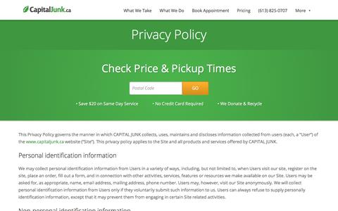 Screenshot of Privacy Page capitaljunk.ca - Privacy Policy - Capital Junk - captured Nov. 30, 2017