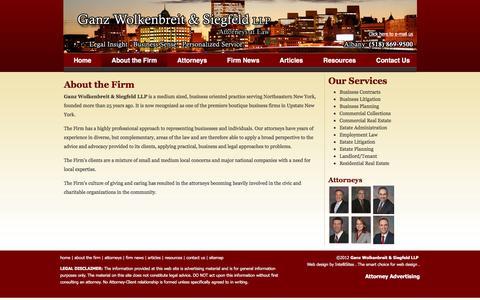 Screenshot of About Page gwlaw.com - About the Firm | Ganz Wolkenbreit & Siegfeld LLP - captured Jan. 26, 2016
