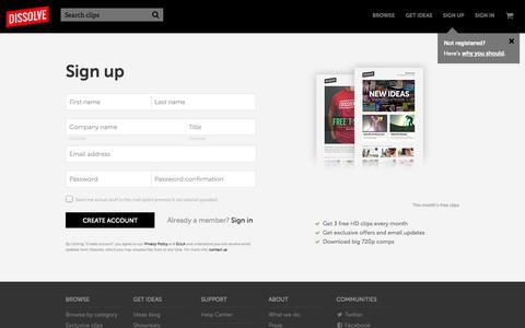 Screenshot of Signup Page dissolve.com - Sign up - Dissolve - captured Sept. 15, 2014