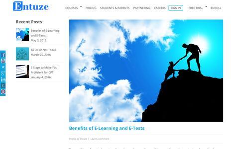 Screenshot of Blog entuze.com - Blog | CPT Online Classes, CPT Mock Test Online Free, CA CPT Coaching - captured Nov. 8, 2016
