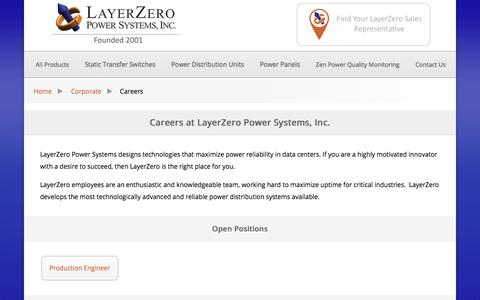 Screenshot of Jobs Page layerzero.com - Careers at LayerZero Power Systems, Inc. - captured July 21, 2017