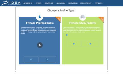Screenshot of Signup Page ideafit.com - IDEA FitnessConnect Signup - captured Nov. 22, 2019