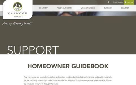 Screenshot of Support Page oakwoodhomesco.com - Support - Oakwood Homes - captured Feb. 16, 2016