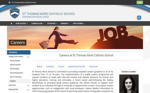 Screenshot of Jobs Page stthomasmore.org.uk - Careers | St Thomas More Catholic School - captured Nov. 18, 2018
