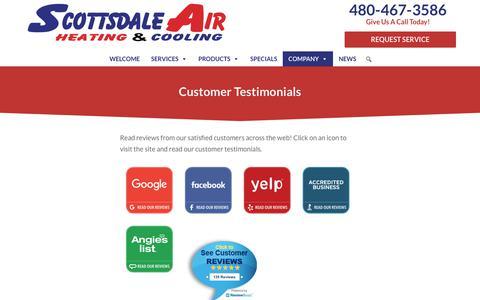 Screenshot of Testimonials Page scottsdaleair.com - Customer Testimonials | Heating, Cooling HVAC | Scottdale Air | Phoenix AZ - captured June 20, 2019