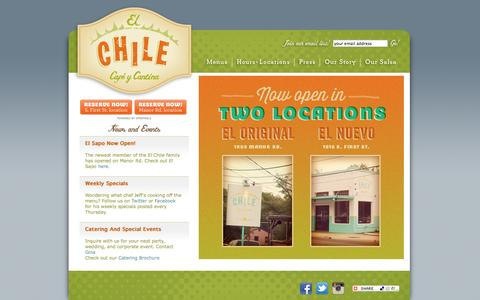 Screenshot of Home Page elchilecafe.com - Welcome to El Chile Cafe y Cantina - captured Oct. 2, 2014