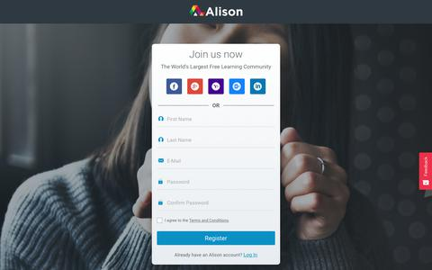 Screenshot of Signup Page alison.com - Sign Up for Free Online Courses | Empower Yourself | Alison - captured Nov. 12, 2017