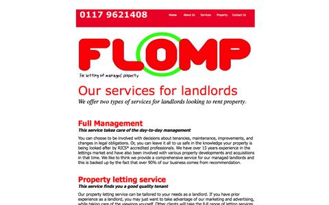 Screenshot of Services Page flomp.co.uk - Lettings and Management - captured Sept. 30, 2014