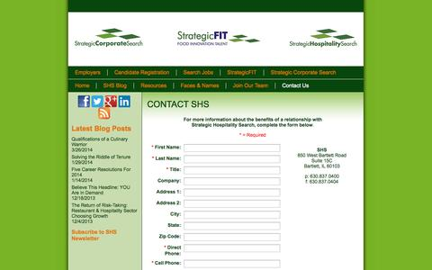 Screenshot of Contact Page strategichospitalitysearch.com - CONTACT SHS - captured Sept. 30, 2014