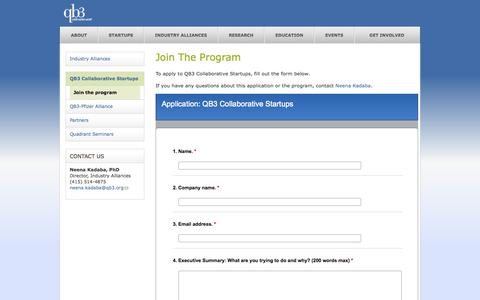 Screenshot of Signup Page qb3.org - Join the program | QB3 - captured Sept. 26, 2014