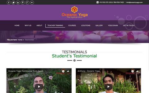 Screenshot of Testimonials Page oceanicyoga.com - Yoga Teacher Training 2016-2017 Testimonial-Oceanic Yoga - captured Feb. 17, 2018