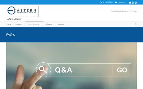 Screenshot of FAQ Page easternmpn.com - Eastern  FAQ's - Eastern - captured Sept. 26, 2018