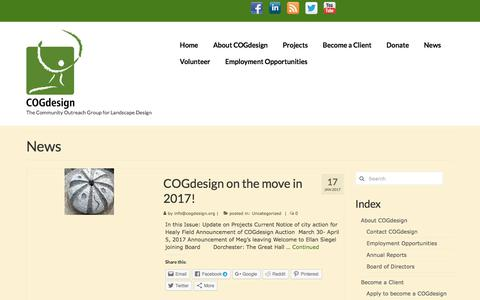 Screenshot of Press Page cogdesign.org - News – Community Outreach Group for Landscape Design - captured July 14, 2018