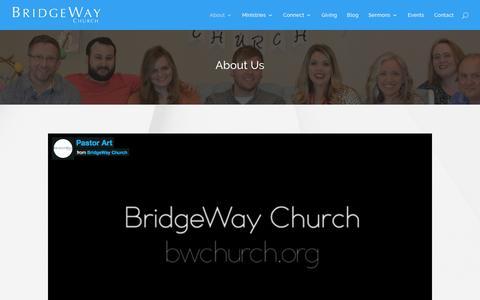 Screenshot of About Page bwchurch.org - About - BridgeWay Church - captured Nov. 23, 2016