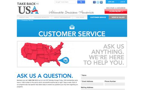 Screenshot of Contact Page Support Page usaassoc.com - Customer Service - captured Oct. 23, 2014